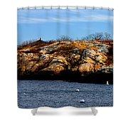 Rockport Shore Rocks - Greeting Card Shower Curtain
