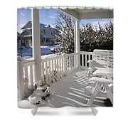 Showy Porch Shower Curtain