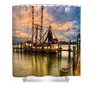 Shrimp Boat At Sunset Shower Curtain by Debra and Dave Vanderlaan
