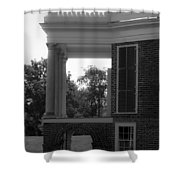 Side View South Portico Bw Shower Curtain