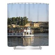 Sightseeing Boat On River Seine. Paris Shower Curtain