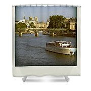 Sightseeings On The River Seine In Paris Shower Curtain
