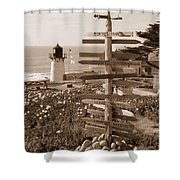 Sign At Point Montara Lighthouse - Sepia Shower Curtain