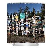 Sign Posts Forest In Watson Lake Yukon Shower Curtain by Mark Duffy