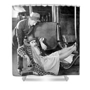 Silent Film Still: Accidents Shower Curtain