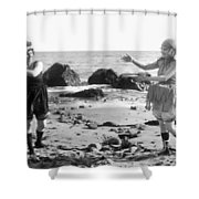 Silent Film Still: Beach Shower Curtain