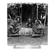Silent Film Still: Natives Shower Curtain