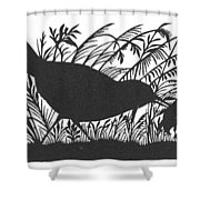 Silhouette: Bird & Insect Shower Curtain