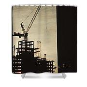 Silhouette Crane At A Skyscraper Shower Curtain