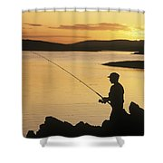 Silhouette Of A Fisherman Fishing On Shower Curtain