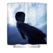 Silhouette Of A Girl Against The Sky Shower Curtain by Joana Kruse