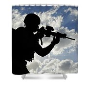 Silhouette Of A Soldier Shower Curtain