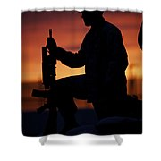 Silhouette Of A U.s Marine On A Bunker Shower Curtain