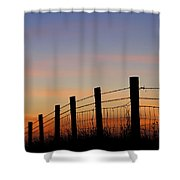 Silhouette Of Barbed Wire Fence Shower Curtain