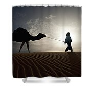 Silhouette Of Berber Leading Camel Shower Curtain