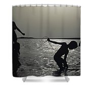 Silhouette Of Boys Fishing Shower Curtain