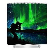 Silhouette Of Photographer Shooting Stars Shower Curtain by Setsiri Silapasuwanchai