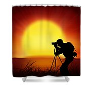 Silhouette Of Photographer With Big Sun  Shower Curtain