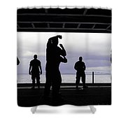 Silhouette Of Sailors In The Hangar Bay Shower Curtain