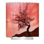 Silhouette Of Shrub Tree Shower Curtain