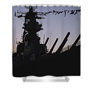 Silhouette Of The Battleship U.s.s Shower Curtain