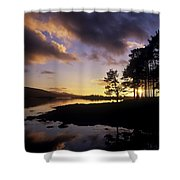 Silhouette Of Trees On The Riverbank Shower Curtain