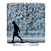 Silhouette Over Water Shower Curtain