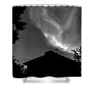 Silhouetted House And Clouds Shower Curtain
