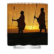 Silhouetted Laikipia Masai Guides Shower Curtain