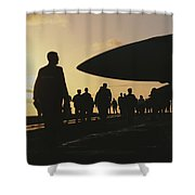 Silhouetted Military Personnel Shower Curtain