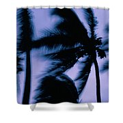 Silhouetted Palm Trees Blow In The Wind Shower Curtain