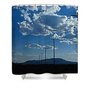 Silhouetted Telephone Poles Under Puffy Shower Curtain