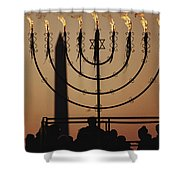 Silhouetted Worshippers Stand Shower Curtain