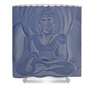 Silver Buddha Shower Curtain