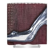 Silver Crocodile Pump Shower Curtain