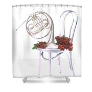 Silver French Horn On Silver Chair Shower Curtain