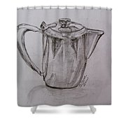 Silver Teapot Shower Curtain