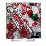 Silver Trumper And Christmas Ornaments Shower Curtain