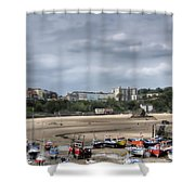 Simply North Beach From Tenby Harbour Shower Curtain