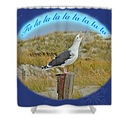 Singing Seagull Christmas Card Shower Curtain