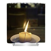 Single Candle Flame, Defocussed Shower Curtain