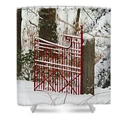 Single Red Gate Shower Curtain