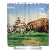 Sioux Hunting Buffalo On Decorated Pony Shower Curtain