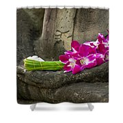 Sitting Buddha In Meditation Position With Fresh Orchid Flowers Shower Curtain