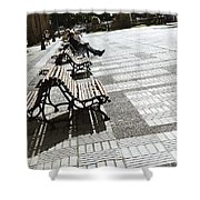 Sitting In The Park - Madrid Shower Curtain