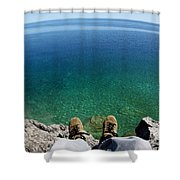 Sitting On A Cliff Shower Curtain