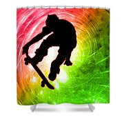 Skateboarder In A Psychedelic Cyclone Shower Curtain