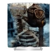Skeleton In Gas Mask Shower Curtain