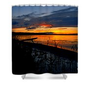 Skeloton Lake Sunset Hdr Shower Curtain