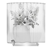 Sketched Vase Of Flowers Shower Curtain